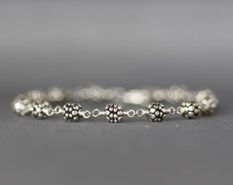 Bali Silver Bracelet - Silver Wire Wrapped Bracelet - Sterling Silver Bracelet - Silver Beaded Bracelet - Bali Silver Jewelry - Gift for Her