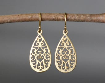 6e791eb6d Gold Filigree Earrings - Matte Gold Earrings - 18k Gold Earrings - Gold  Dangle Earrings