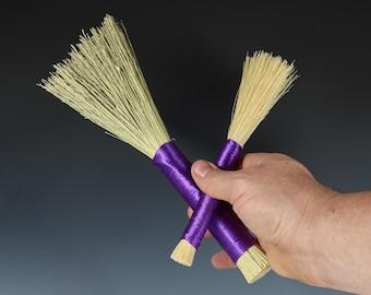 A Set Of Two Purple Handle Slip Broom And Tampico Brush, Paint Brush, Hake, Handmade Corn Broom Paintbrush, Hakame Brush