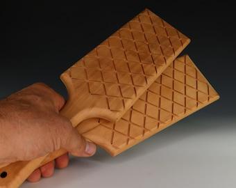 Cross Hatch Pottery Paddle, Net Wood Paddle, Basket Weave