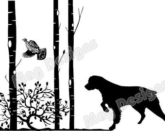 Brittany Spaniel Vinyl Car Decal - Dog with Flushing Grouse and Trees - Dog Decal - Animal Stickers