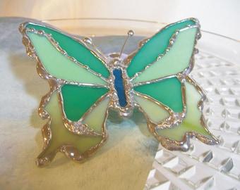 Stained Glass Butterfly - Butterfly Suncatcher - Shades of Green - Glass Butterfly - Butterfly Kisses