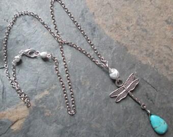 Dragonfly Gemstone Necklace ~ Howlite & Turquoise Necklace ~ Metaphysical / Spiritual / Minimalist / Boho Jewelry