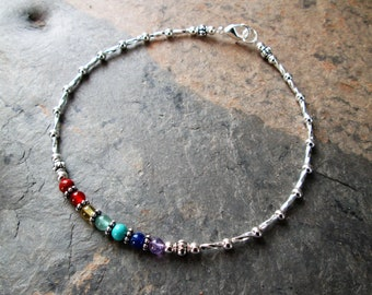 "11/"" 925 Sterling Silver Rainbow Chakra Yoga Gemstone Anklet 9/"",10/"" 12/"""