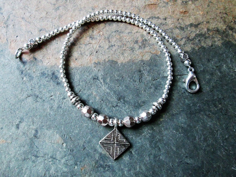 Silver Beaded Boho Anklet Silver Ankle Bracelet with Stamped Silver Charm