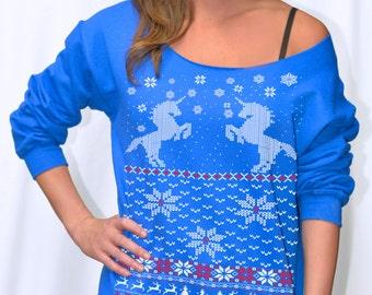 Women's Ugly Christmas sweater -- Unicorn sweatshirt -- pullover raglan sweatshirt -- off shoulder women's size s m l xl xxl red blue green