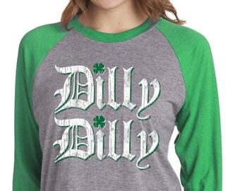 8f1022b486212 ST. PATRICKS DAY Shirt - Dilly Dilly Shirt - Unisex - Raglan Baseball Tee -  Vintage Print - Super Soft Tri Blend - Mens - Ladies - xs - xxxl