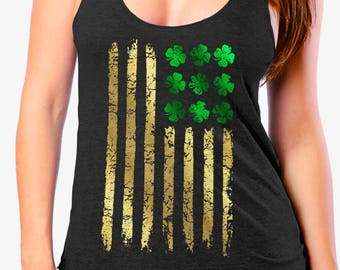 St PATRICKS DAY Tank for Ladies - Irish American Foil Flag - Ladies Tri Blend Racerback Tank - sizes xs - xxl