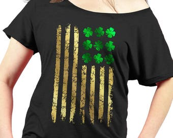 ST PATRICKS DAY Tee - Ladies Slouchy Shirt - Irish American Flag - Premium Triblend Womens Slouchy Shirt - Foil Imprint - Sizes xs - xxl