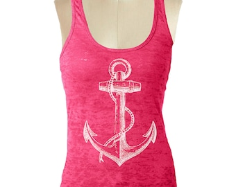 6f0e25e1697653 ANCHOR NAUTICAL Tank Top Racerback Tank Top Womens Workout Tank Top Running Tank  Top burnout Tank Top
