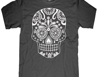 8f253c9a0c7 Mens Skull T shirt Day of the Dead t shirt