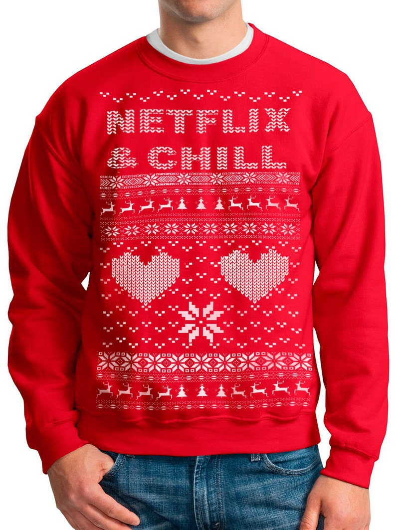 429f2cdc8a106 NETFLIX and CHILL DRAKE Ugly Christmas sweater Netflix Bling t | Etsy
