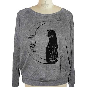 CAT Lady SWEATSHIRT raglan pullover long sleeve shirt american apparel S M L In Gray Only -