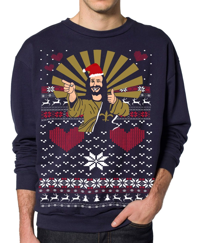 4f84ec123cb7a Jesus Ugly Christmas sweater Jesus Santa pullover