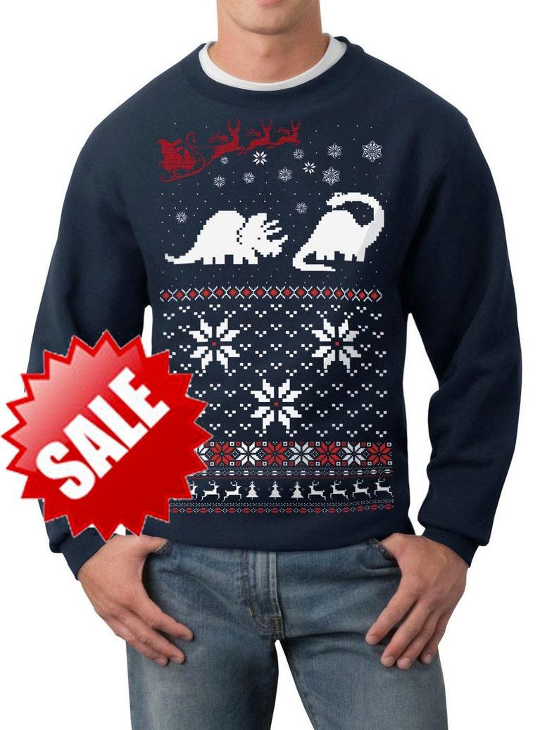 91f9581e48e59 Ugly Christmas sweater Santa Dinosaur pullover | Etsy