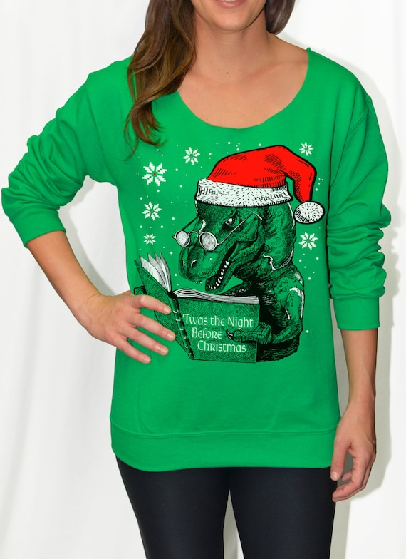 T Rex Christmas Sweater.Womens Dinosaur Christmas Sweater Sweatshirt Shirt T Rex Reading Night Before Christmas Off Shoulder Slouchy Women S Size S M L Xl Xxl
