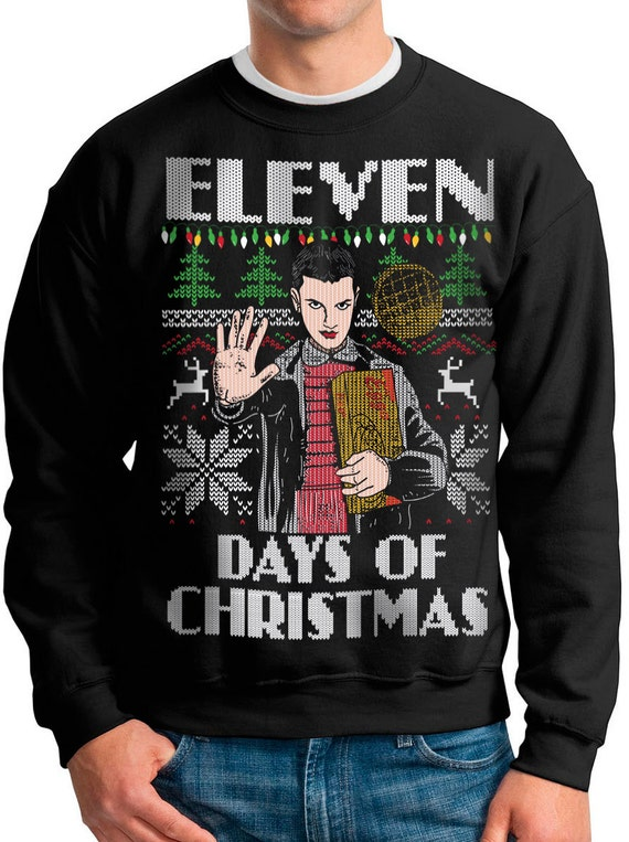 Stranger Things Christmas Sweater.Ugly Christmas Sweater Stranger Things Eleven Days Of Christmas Pullover Sweatshirt S M L Xl Xxl Xxxl