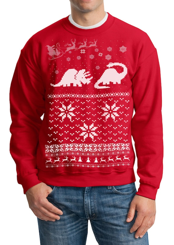 Dinosaur Christmas Sweater.Ugly Christmas Sweater Santa Dinosaur Pullover Sweatshirt S M L Xl Xxl Xxxl