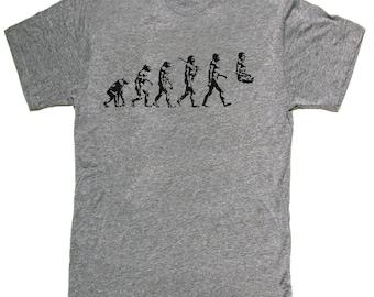 Mens unisex T-shirt --- Yoga Evolution -- sizes sm med lg xl xxl skip n whistle