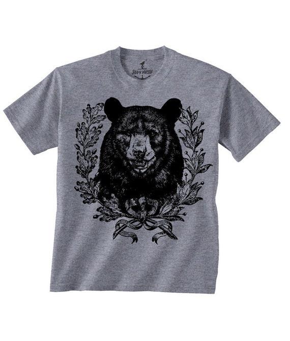 BEAR HEAD Crest-- Kids T shirt -- toddler youth boys birthday party ideas  bear theme Size 2t, 3t, 4t, youth xs, yth sm, yth med, yth lg