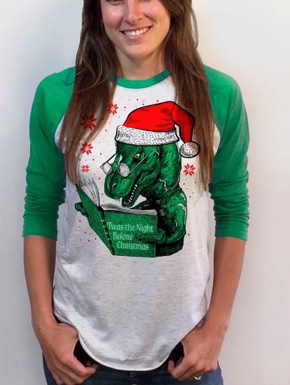 Night Before Christmas Womens Christmas Sweater Dinosaur Etsy