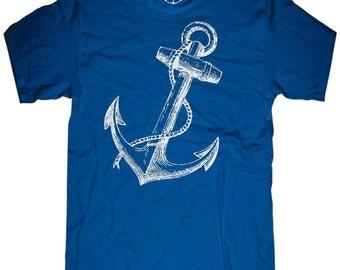 Mens unisex T-shirt - ANCHOR T SHIRT ---- sizes sm med lg xl xxl skip n whistle