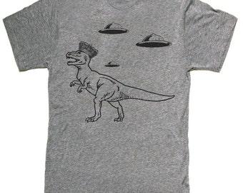 Mens unisex T-shirt --- Dinosaur UFO aliens --- sizes sm med lg xl xxl 3xl, 4xl, 5xl skip n whistle