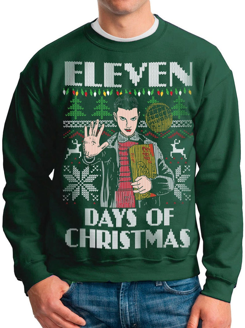 7e02e2b65adcf Ugly Christmas Sweater Stranger Things Eleven Days of | Etsy