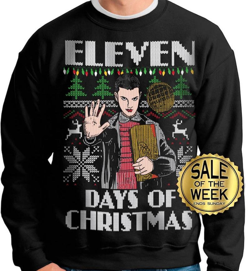 c1736f5e33 Ugly Christmas Sweater Stranger Things Eleven Days of