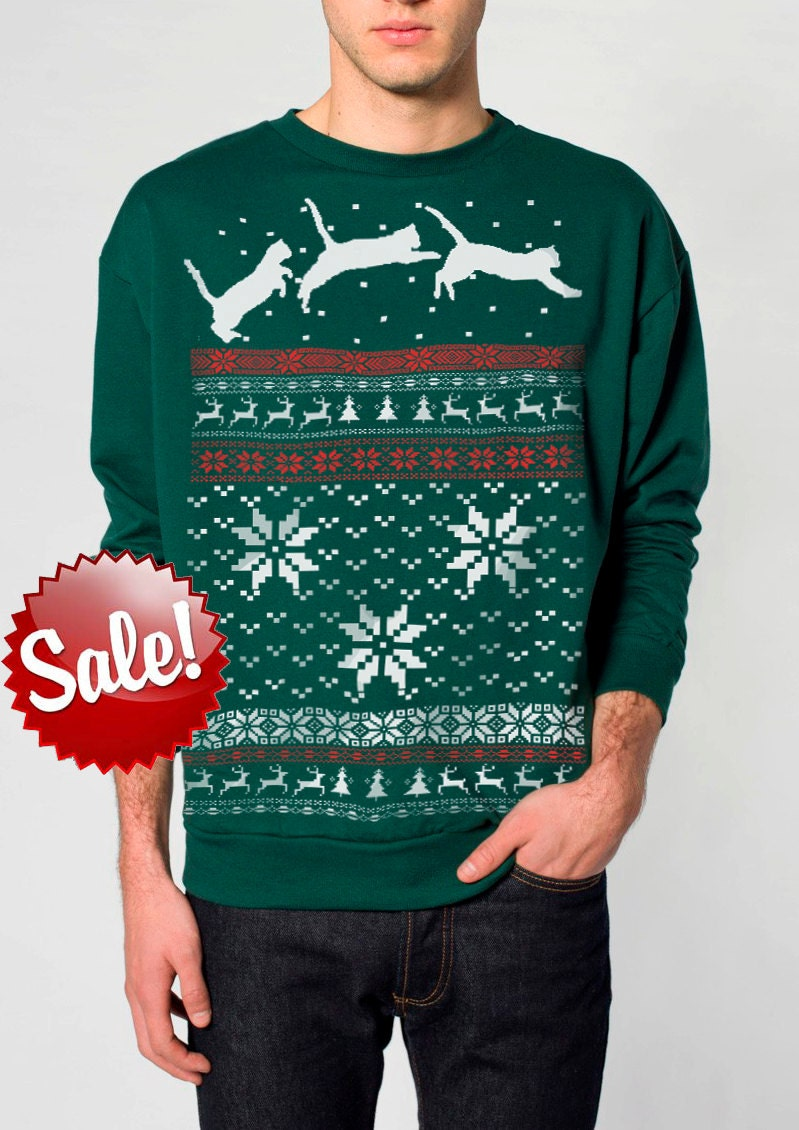 Ugly Christmas sweater Cat jumping in snow pullover cat | Etsy