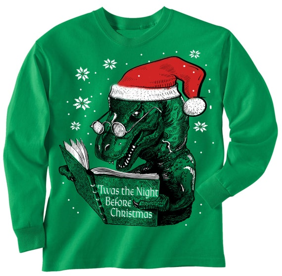 T Rex Christmas Sweater.Toddler Christmas Sweater Tee Dinosaur Reading Book T Rex Long Sleeve T Shirt Kids Toddler Youth Sizes