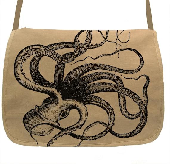Release the Kraken Embroidered Canvas Messenger Bag