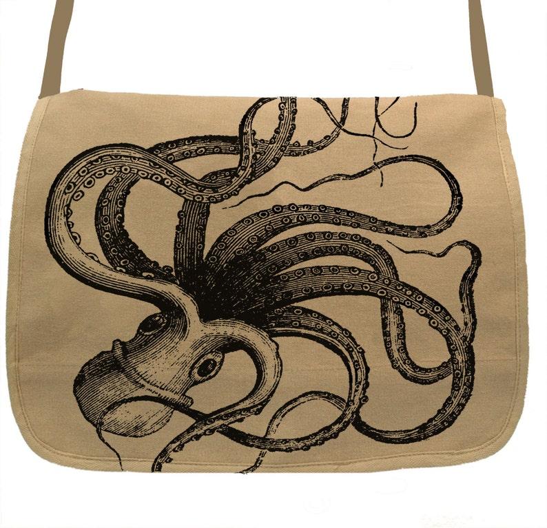 Kraken Octopus -- Canvas messenger bag -- large field bag -- adjustable  strap skip n whistle