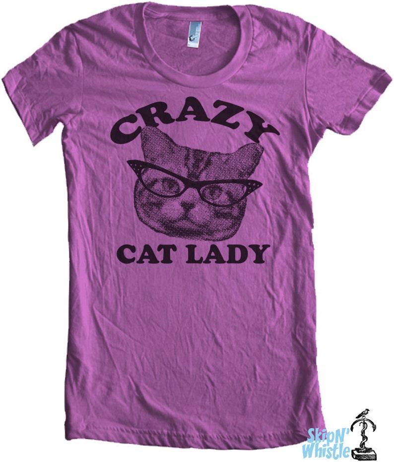 CRAZY CAT lady t shirt  american style apparel  S M L XL   image 0