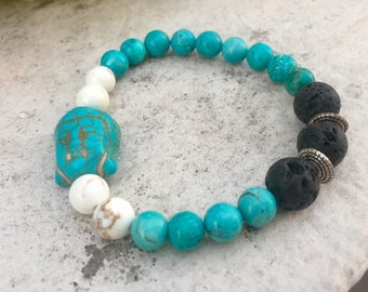 Howlite Gemstone And Lava Diffuser Bracelet, Budhha Jewelry, Aromatherapy Jewelry, Chakra jewelry, Healing Properties, Natural Remedy
