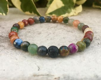 Multi Stone Gemstone And Lava Diffuser Bracelet, Aromatherapy Jewelry, Chakra jewelry, Healing Properties, Natural Remedy