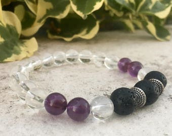 Quartz, Amethyst Gemstone And Lava Diffuser Bracelet, Aromatherapy Jewelry, Chakra jewelry, Healing Properties, Natural Remedy