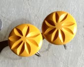 Bakelite Carved Earrings Sunflower Butterscotch Antique Art Deco Early Century Hand Carved Button SB Earrings 1920 39 s 1910 39 s Screw Backs