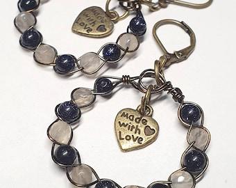 Boho Style ~ Artistic Wire Braided Agate / Blue Sandstone Earrings 3x5.5cms