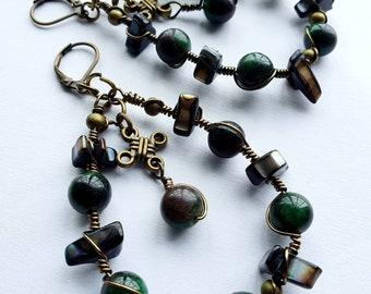 Boho Style ~ Artistic Wire Braided Gemstone Earrings 5x7cms