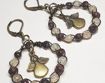 Boho Style - Artistic Wire Braided Garnet / Citrine Earrings 3×5.5cms