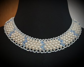 """Cream Pearls / Blue Sapphire Cleopatra Necklace 16"""""""