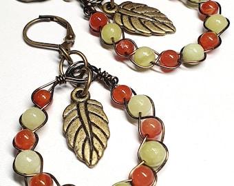 Boho Style ~ Artistic Wire Braided Gemstone Earrings 3x5.5cms