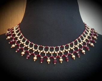 "Garnet Crystal Cleopatra Necklace 16"""