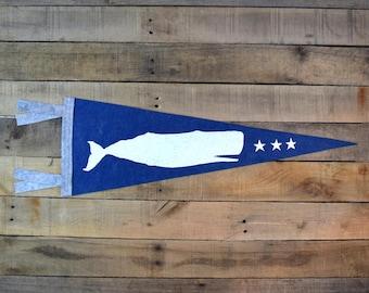 Sperm Whale Pennant on Blue Felt