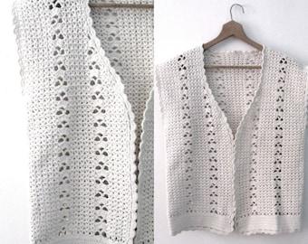 Vintage 60s crochet vest / Handcrafted Bohemian Folk  vest /  Natural cotton crochet waistcoat vest top