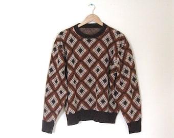 Vintage 60s Argyle Mens sweater / Hipster argyle pullover Unisex 60s sweater