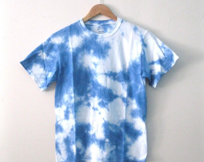 Featured listing image: Hand-Dyed Blue Sky and clouds Dreamer tee shirt / Men's or Women's tie dye cotton 'Day Dreamer' t-shirt sm-xl