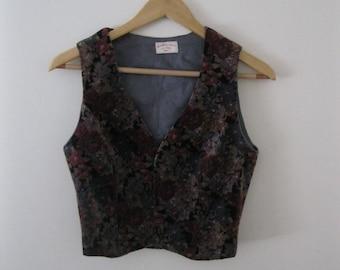 Vintage 70s Floral Velvet Vest / Hippie Boho gray and wine floral velvet waistcoat vest