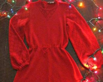 Vintage 60s red sweater dress / pointelle red bell sleeve 60s knit dress / Boho Hippie sweetheart dress